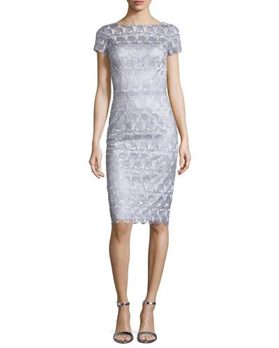 Short-Sleeve Lace Sheath Cocktail Dress