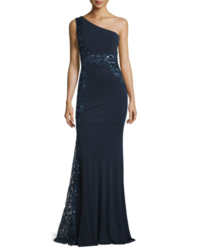 One-Shoulder Sequined Embroidered Gown