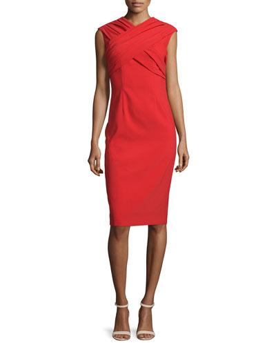 Cap-Sleeve Crisscross Sheath Dress