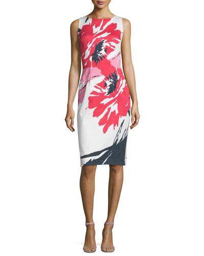 Sleeveless Macro-Floral-Print Sheath Dress, Multi Colors