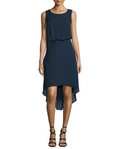 Hailey Sleeveless Tucked-Waist High-Low Dress
