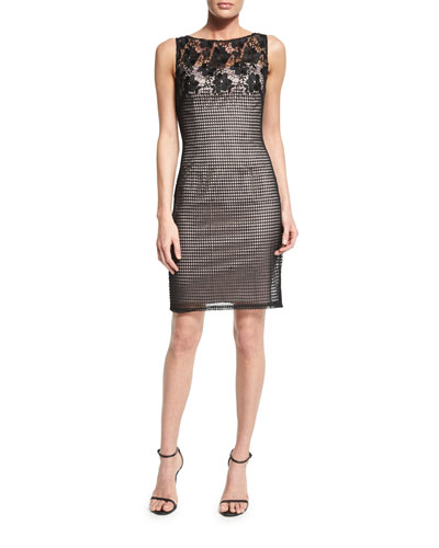 Sleeveless Lace Combo Sheath Dress
