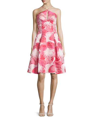 Halter Floral Brocade Dress