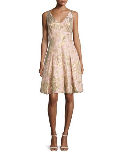 Sleeveless Floral Jacquard Party Dress, Petal