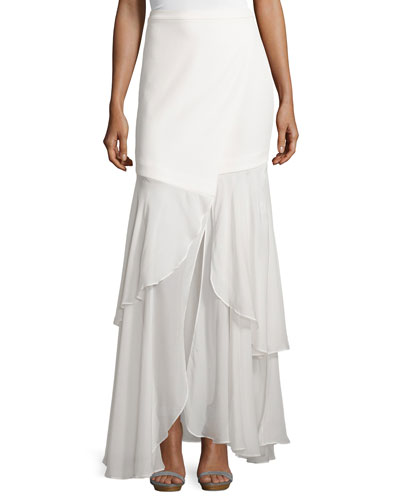 Tiered Maxi Skirt, Swan