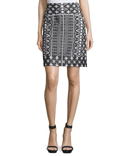 Patrice Embroidered-Print Pencil Skirt