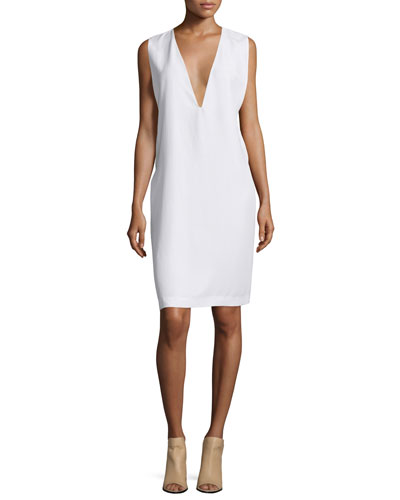 Prudence Plunging-V Shift Dress, Bright White