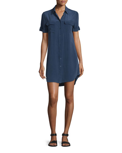 Slim Signature Short-Sleeve Shirtdress, Peacoat