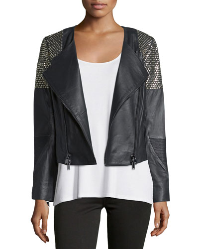 Embellished Leather Moto Jacket, Black/Antique