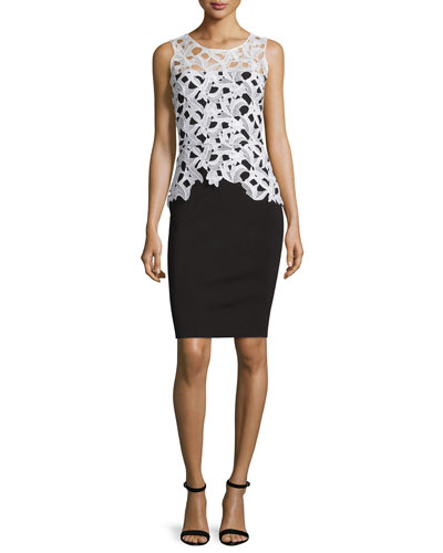 Sleeveless Lace Combo Cocktail Sheath Dress