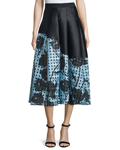 Floral Imago Two-Tone Pleated Skirt