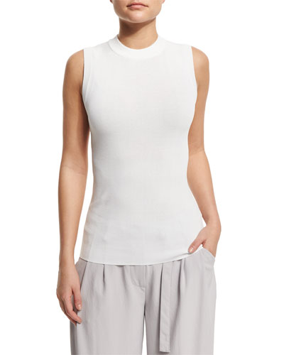 Sleeveless Knit Pullover Top, White