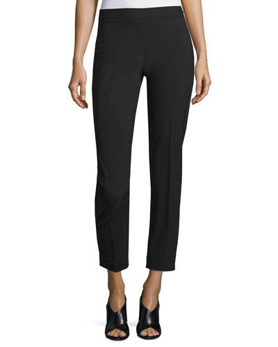 Wool-Blend Side-Zip Pants, Black