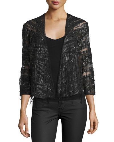 Semisheer Embellished Jacket, Black