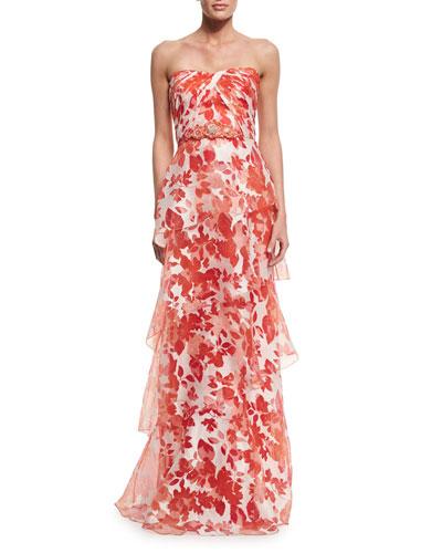 Strapless Floral Organza Gown