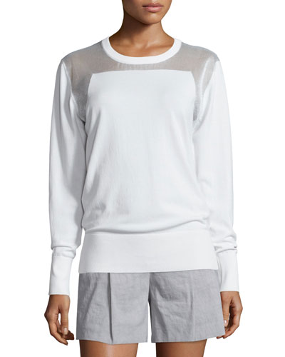 Sheer-Trim Pullover Sweatshirt, White