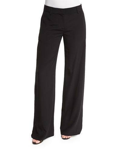 Crepe Wide-Leg Cutout Pants, Black