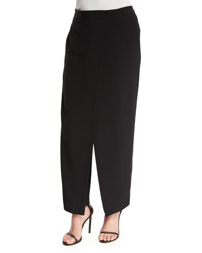 Crepe Wrap-Front Pants, Black