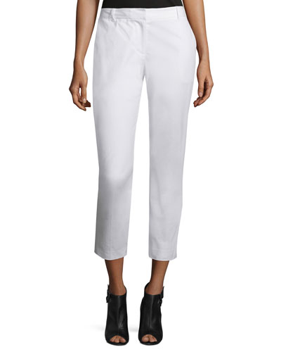 Cropped Stretch-Twill Pants, White