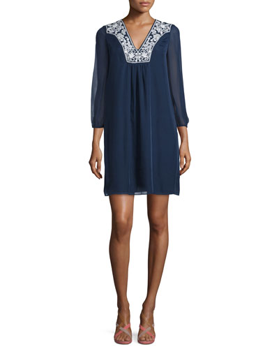 Maslyn Embroidered Silk Shift Dress, Midnight
