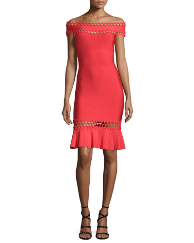 Off-The-Shoulder Cutout Flounce Dress, Coral Poppy