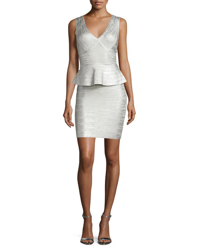 Sleeveless Metallic Peplum Dress, Silver Combo