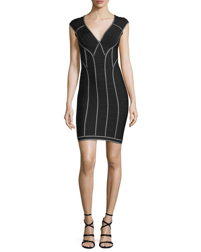 Scallop-Trimmed Bandage Dress, Black Combo