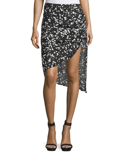 Mid-Rise Asymmetric Skirt, Black/Swan