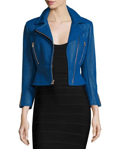 Zip-Front Leather Biker Jacket, Blue Sapphire