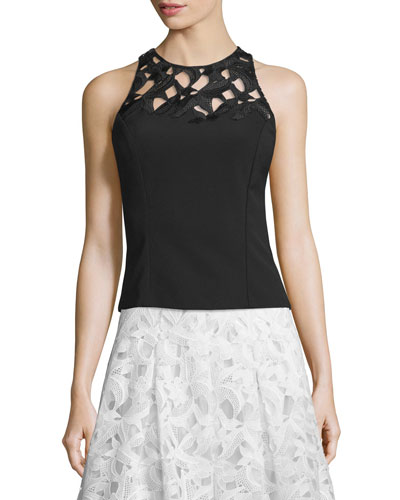 Sleeveless Embroidered Crepe Top, Jet