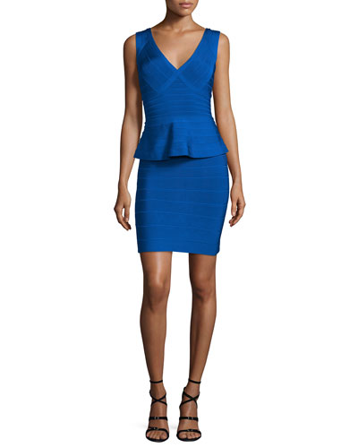 Sleeveless V-Neck Peplum Bandage Dress, Bright Blue