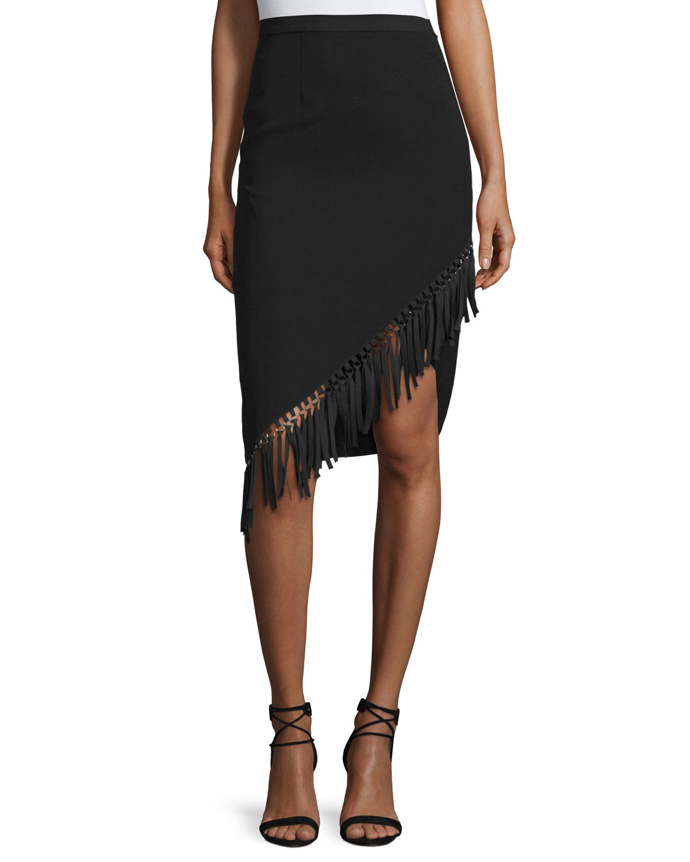 Asymmetric Fringe-Trim Pencil Skirt