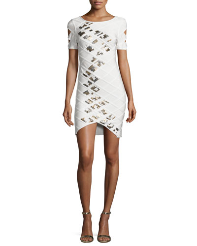 Short-Sleeve Embellished Bandage Dress, White
