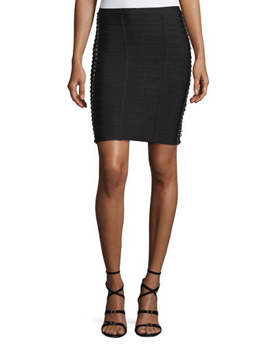 Lace-Up Side Pencil Skirt, Black
