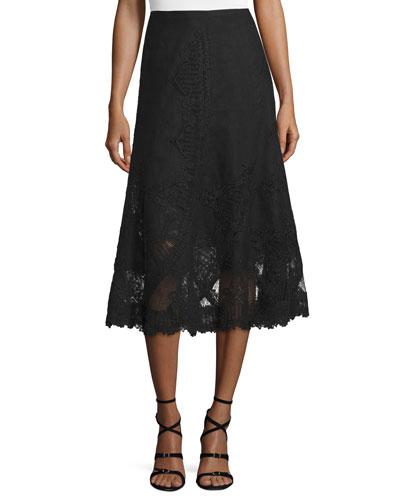 Rydel Embroidered Linen Skirt
