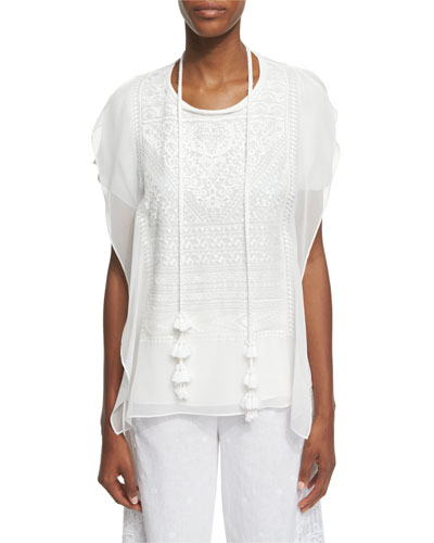 Chantal Embroidered Blouse W/ Removable Tassel