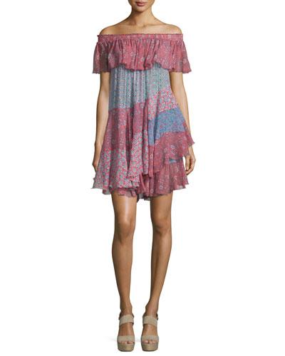 Off-the-Shoulder Patchwork Mini Dress, Tangerine/Mermaid