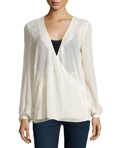 Bishop-Sleeve V-Neck Blouse, Antique Ivoire