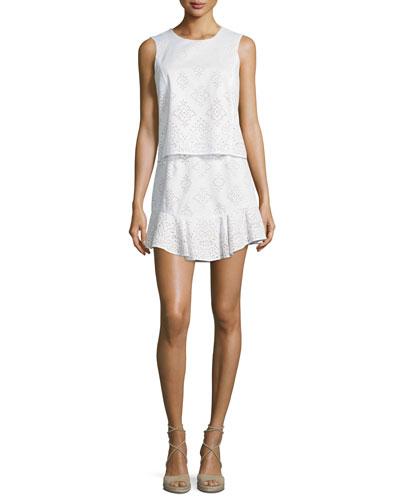 Vivian Sleeveless Lace Cocktail Dress, White Combo