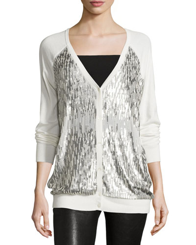 Sequined-Front V-Neck Cardigan, Antique Ivoire/Matte