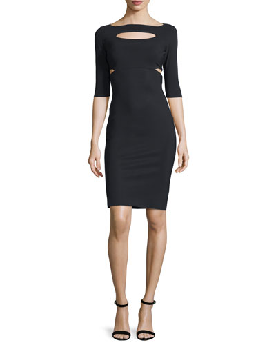 Zora Half-Sleeve Cutout Sheath Cocktail Dress