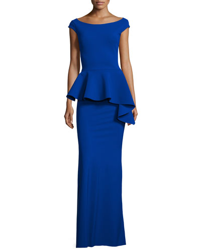 Etheline Cap-Sleeve Peplum Column Gown, Inchiostro