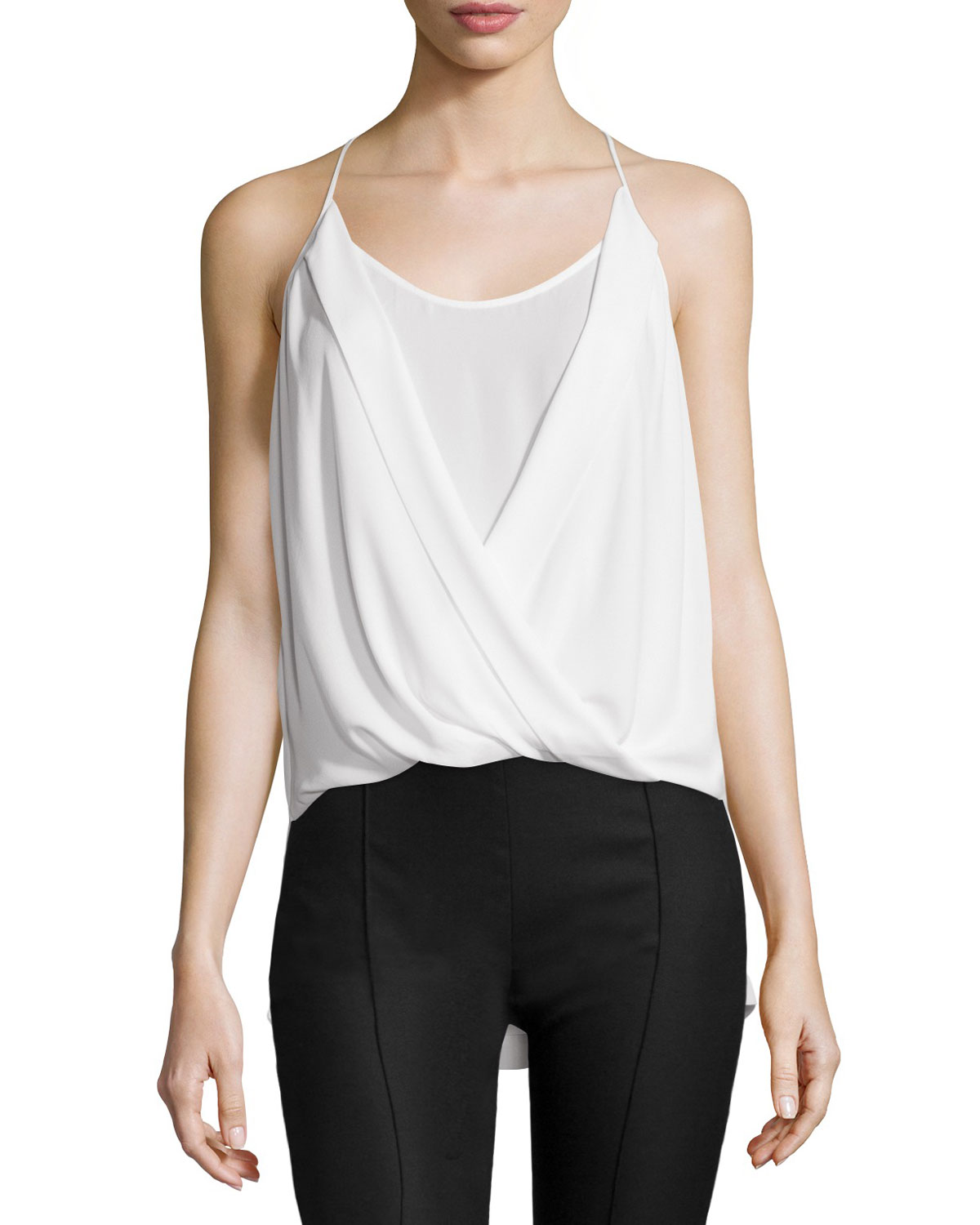 Sayge Sleeveless Faux-Wrap Blouse, White