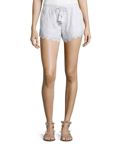 CALYPSO ST BARTH Farfett Drawstring-Waist Eyelet Shorts, White