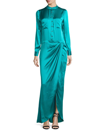 Long-Sleeve Button-Front Gown, Turquoise