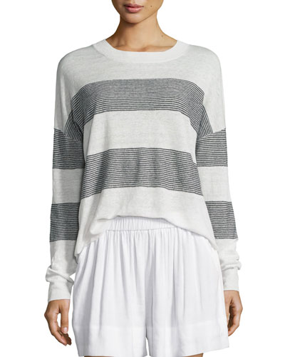 Multi-Stripe Linen Pullover Sweater