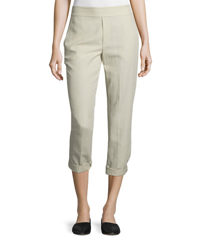 Easy Narrow Cotton-Blend Pull-On Pants