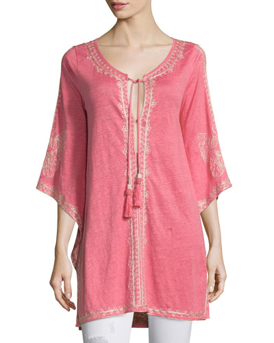 Alus 3/4-Sleeve Embroidered Long Tee, Cajun Coral