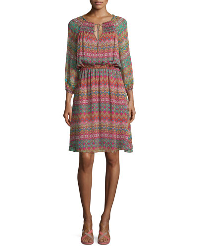 Parry Printed Silk Blouson Dress, Coromandel