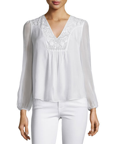 Maslyn Embroidered Silk Top, Ivory